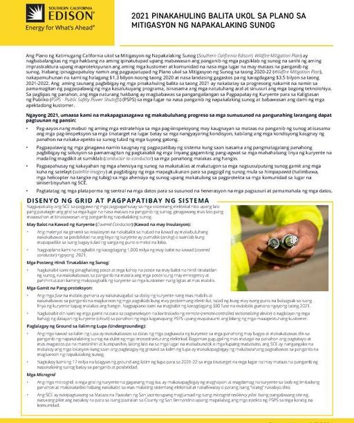 Wildfire Mitigation Plan 2021 Update (Tagalog)