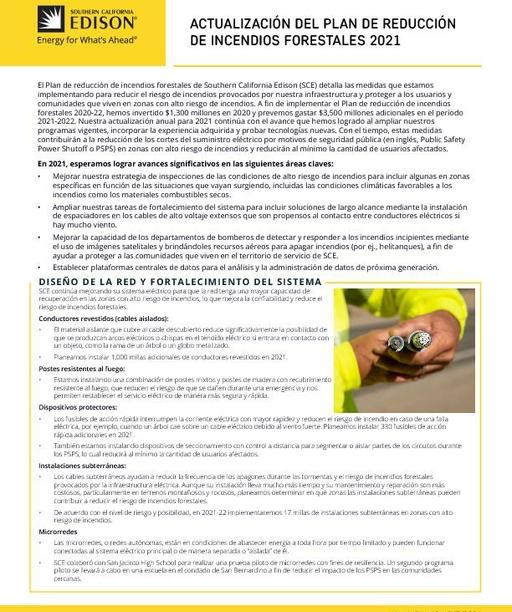 Wildfire Mitigation Plan 2021 Update (Spanish)