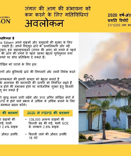 Wildfire Mitigation Progress by County Report 2020 Year-End (Hindi)