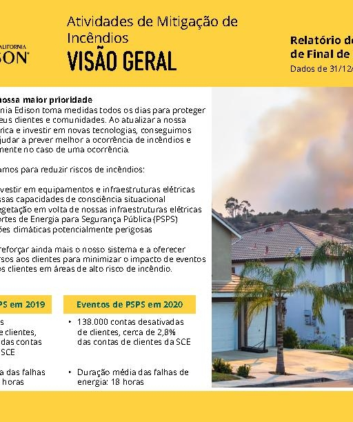 Wildfire Mitigation Progress by County Report 2020 Year-End (Portuguese)