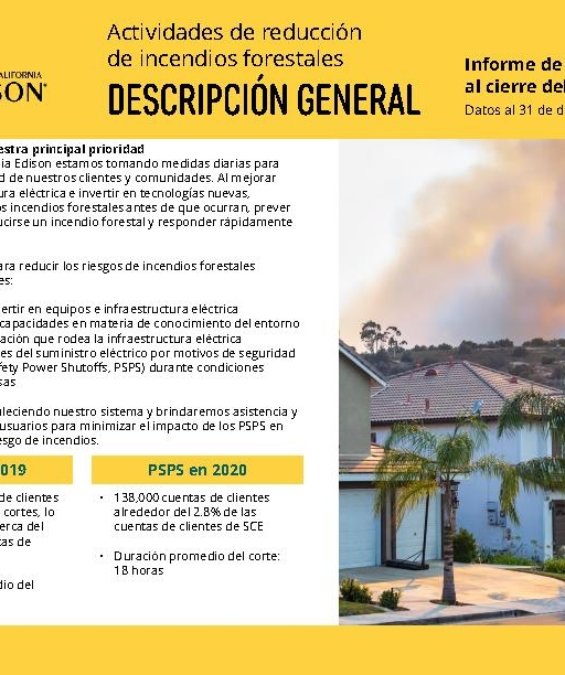 Wildfire Mitigation Progress by County Report 2020 Year-End (Spanish)