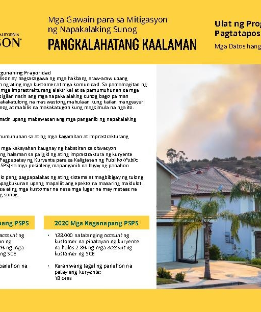Wildfire Mitigation Progress by County Report 2020 Year-End (Tagalog)