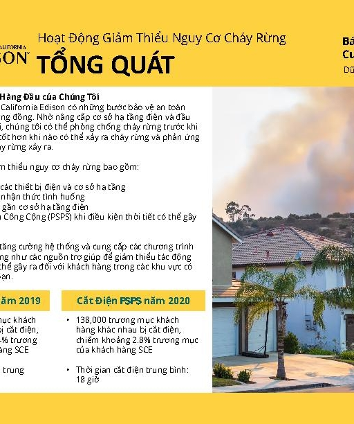 Wildfire Mitigation Progress by County Report 2020 Year-End (Vietnamese)