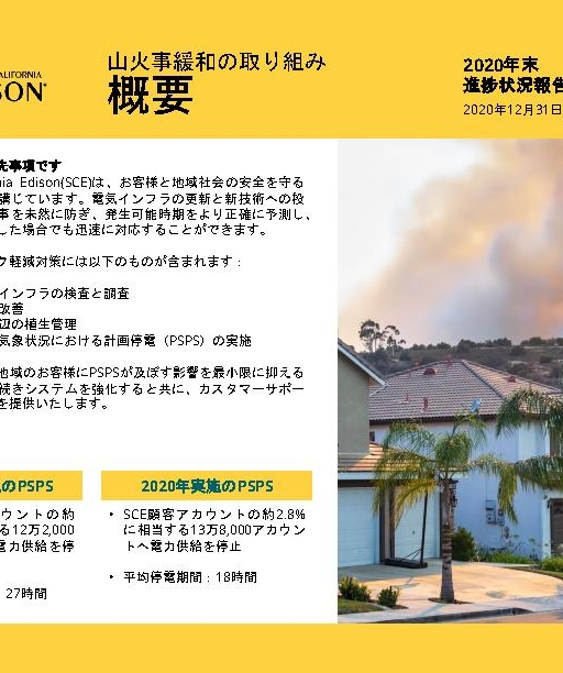 Wildfire Mitigation Progress by County Report 2020 Year-End (Japanese)