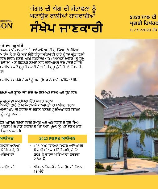 Wildfire Mitigation Progress by County Report 2020 Year-End (Punjabi)