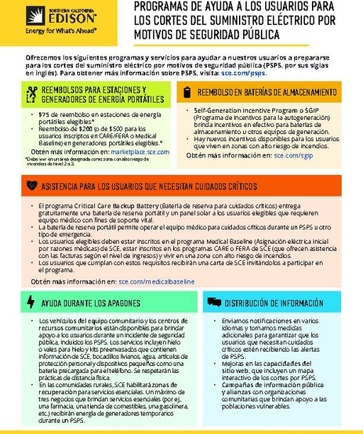 PSPS Customer Care Programs Fact Sheet (Spanish)