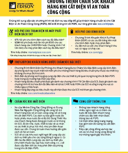 PSPS Customer Care Programs Fact Sheet (Vietnamese)