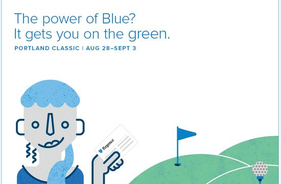 The power of Blue? It gets you on the green.