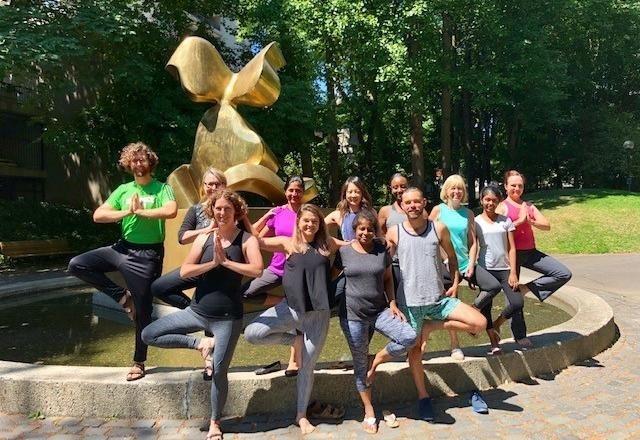 Regence employees yoga