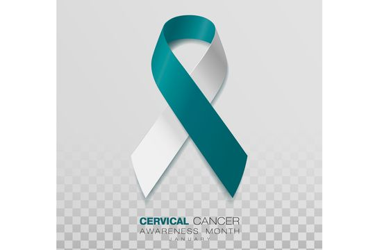 Cervical Cancer Awareness Month. Teal And White Ribbon Isolated On Transparent Background. Vector Design Template For Poster. Illustration.