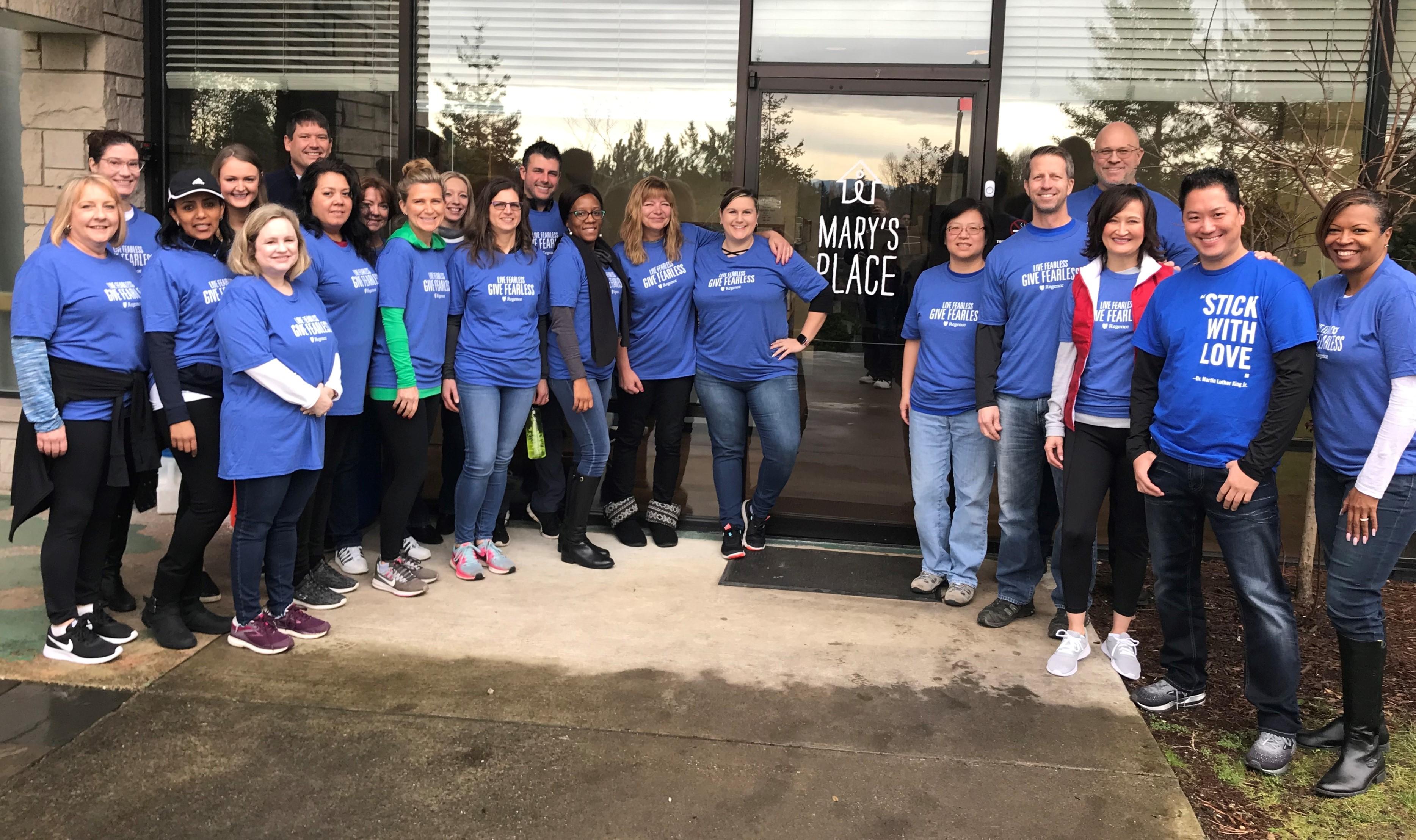 Marys Place Regence employee volunteers