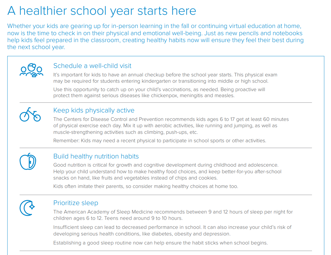 Regence back to school guide preview