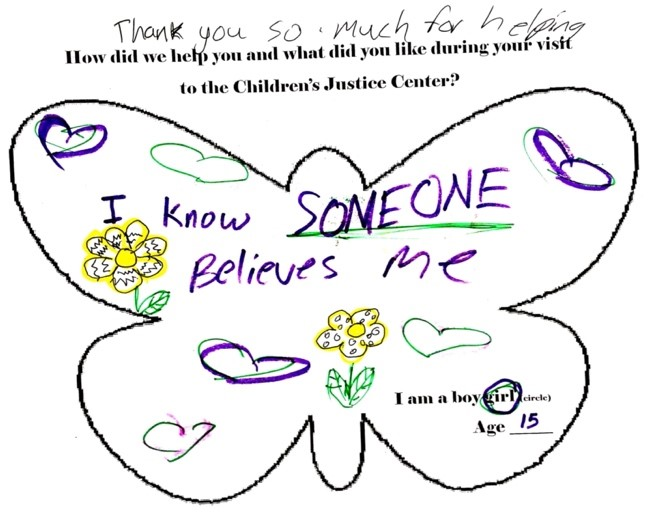 Childrens Justice Center thank you note