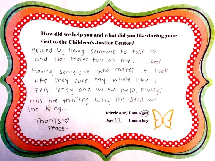 Thank you note from a teen who received counseling from a CJC