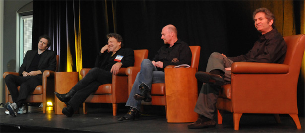 The Internet's 40th anniversary conference had something the 30th lacked: a pop-culture panel. Panelists, from left: John Taylor, bassist in the band Duran Duran; John Perry Barlow, Electronic Frontier Foundation; and from World-of-Warcraft producer Blizzard Entertainment, Blizzard officials Frank Pearce and Mike Morhaime.
