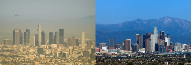 The LARC hopes to transform the Los Angeles region. Above, the LA skyline on a smoggy day, and the same skyline on a clear day.