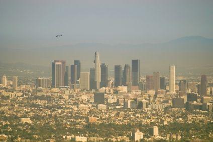 Smoggy L.A. skyline