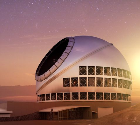 An artist's rendering of the Thirty Meter Telescope at sunset