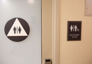 Click to open the large image: Unisex bathroom in Sproul Landing