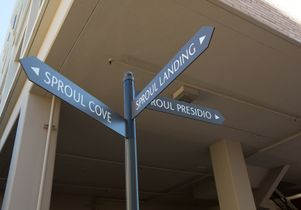 Click to open the large image: Sproul signage on The Hill