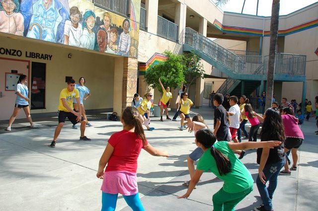 Exercising at Leo Politi Elementary