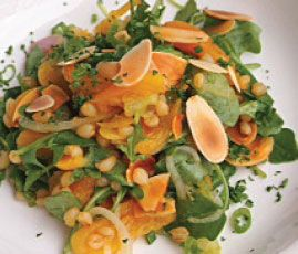 Wheatberry, apricot and arugula salad