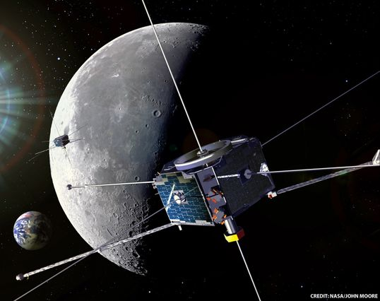 Artist's rendering of ARTEMIS spacecraft in lunar environment