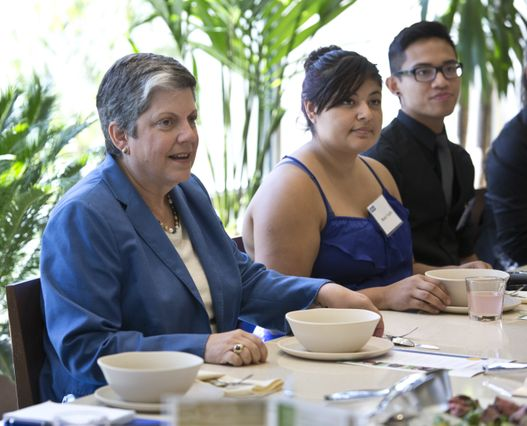 Janet Napolitano and students