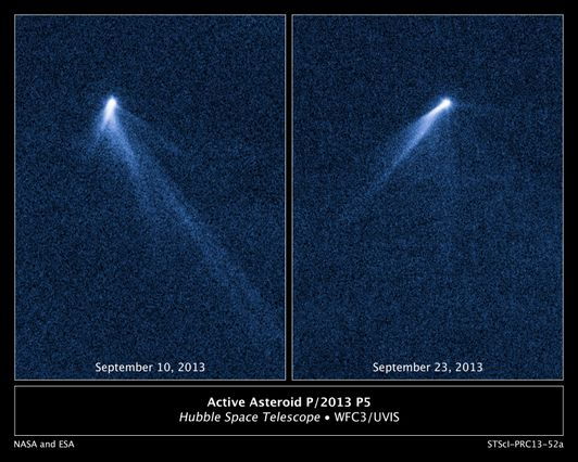 Asteroid spouts six comet-like tails
