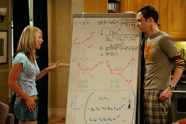 Penny and Sheldon with whiteboard