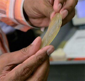 Vijay Gupta holds polymer