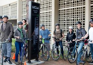 Click to open the large image: Bicyclists at the unveiling of the new UCLA bike counter.