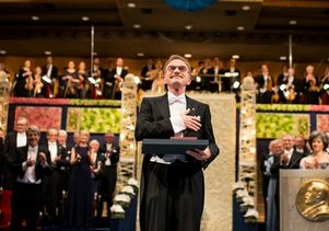 Click to open the large image: Randy Schekman at Nobel Prize ceremony
