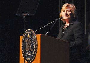 Hillary Clinton at podium