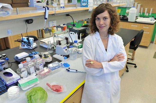 Amy Rowat in her UCLA laboratory