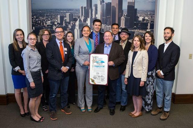 Recipients of the Environmentalist of the Year Award and Councilman Paul Koretz