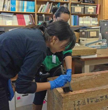 Hilo Sugita cleans sarcophogus
