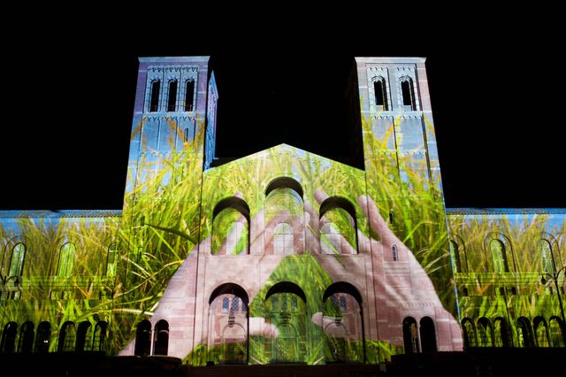 Royce Hall light and sound show