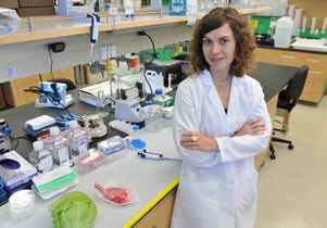 Amy Rowat in her UCLA laboratory
