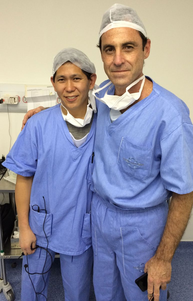 UCLA surgeon Dr. David Chen (left) and Dr. Sergio Roll of Sao Paulo, Brazil