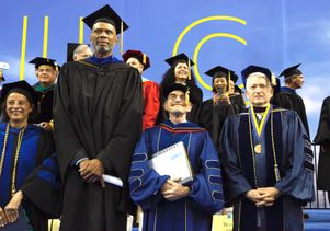 Nobel-winning alumnus Randy Schekman with Chancellor Gene Block and Bruins legend Kareem Abdul-Jabbar.