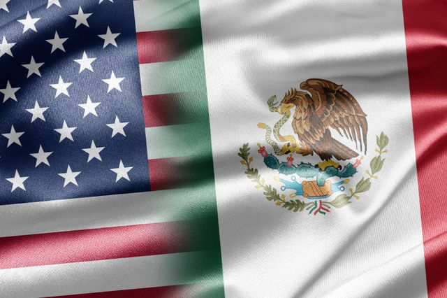 Flags of U.S. and Mexico