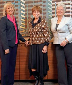 (From left) Dr. Cathy A. Alessi, Rita B. Effros and Janet C. Frank