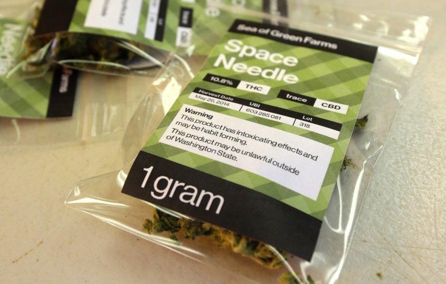 Bag of recreational marijuana packaged in Seattle