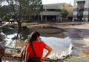 UCLA flooding Bruin Plaza