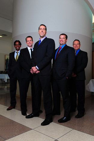 Anderson M.B.A. students (from the left) Saigovind Dandapani, Richard Smith, Guy Cohen, Peter McKeever and Andreas Neuman