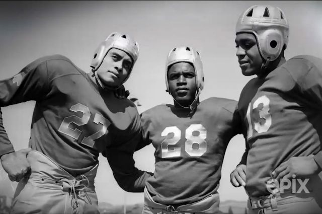 Woody Strode (from the left), Jackie Robinson and Kenny Washington on the Bruin football team