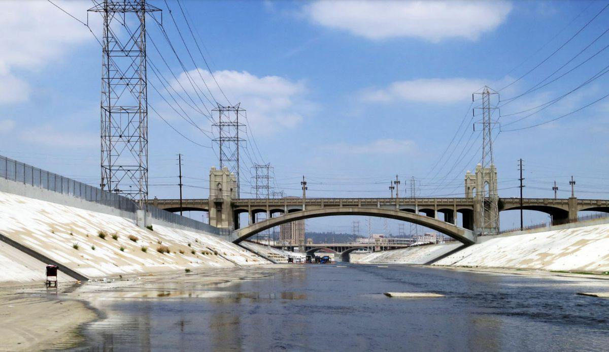 View of the 4th Street and 1st Street Bridges and Los Angeles River channel