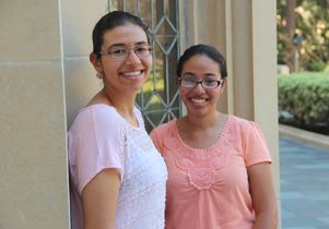 Youstina and Marina Salama outside of Kerckhoff Hall