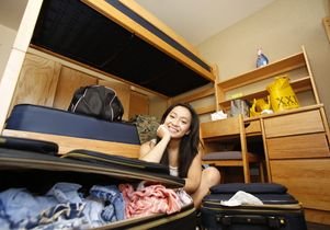 Undergraduate in her new living quarters